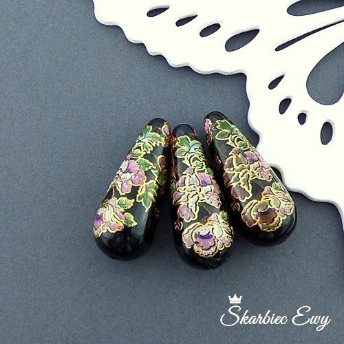 koralik z żywicy malowane kwiaty kropla 33x13 mm