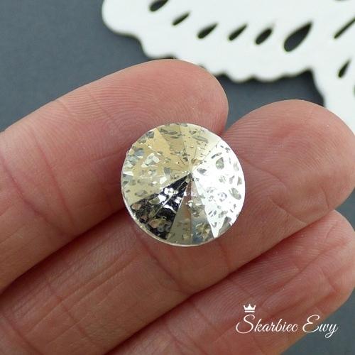 kaboszony szklane fasetowane 16 mm kryształki rivoli patyna