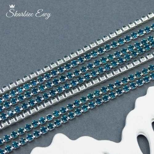 taśma cyrkoniowa srebrna 2 mm PEACOCK BLUE