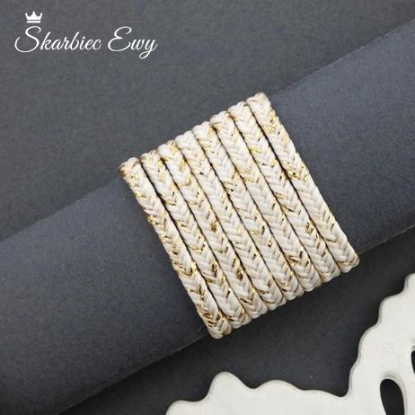 polski sznurek sutasz metalizowany ombre nowość biały