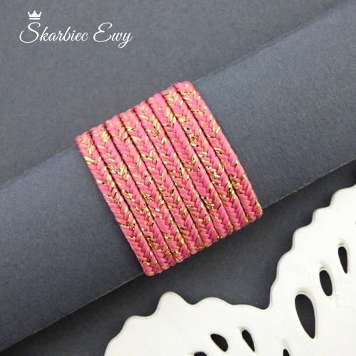 polski sznurek sutasz metalizowany ombre nowość różowy