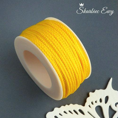 sznurek skręcany ozdobny do biżuterii żółty