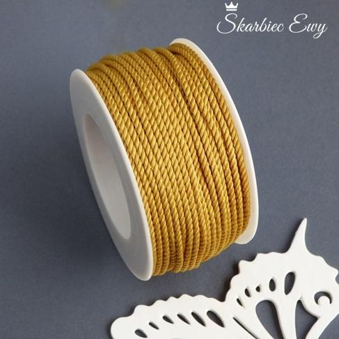 sznurek skręcany ozdobny do biżuterii musztardowy