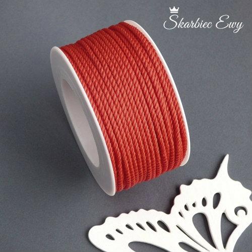 sznurek skręcany ozdobny do biżuterii czerwony