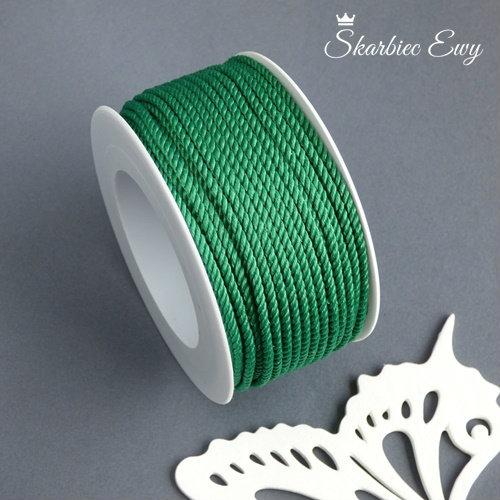 sznurek skręcany ozdobny do biżuterii zielony