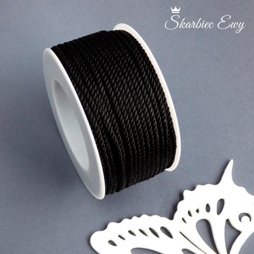 sznurek skręcany czarny ozdobny do biżuterii