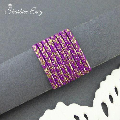 sznurek sutasz purpurowy fiolet sztywny ombre metalizowany