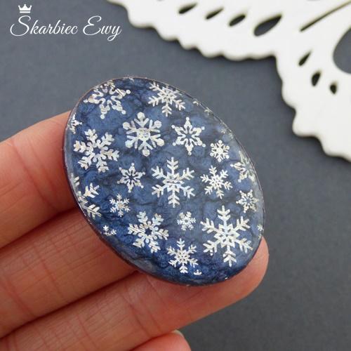 kaboszon handmade ręcznie robione owal śnieżynka