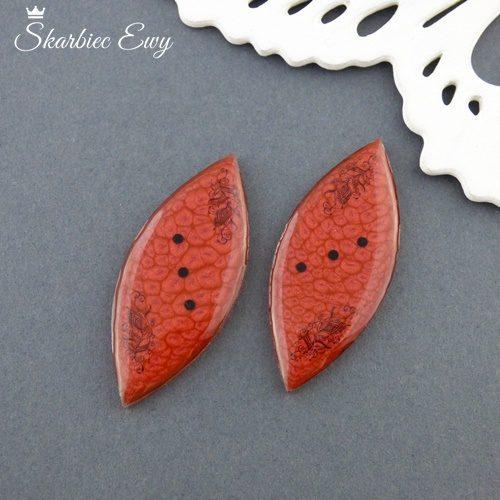 kaboszony handmade koronka beżowe ręcznie robione czerwone