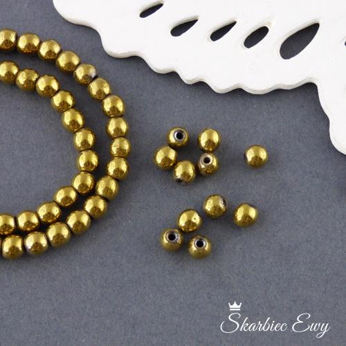hematyt kulka złoty 4 mm