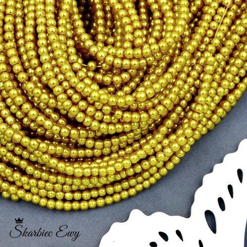 perły szklane 6 mm perełki do biżuterii ZŁOTE