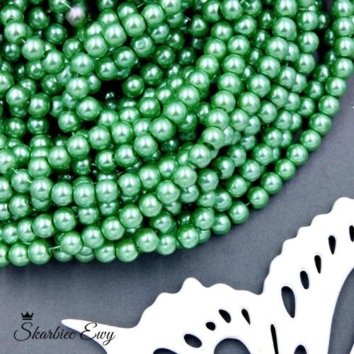 perły szklane 6 mm perełki do biżuterii JASNOZIELONE