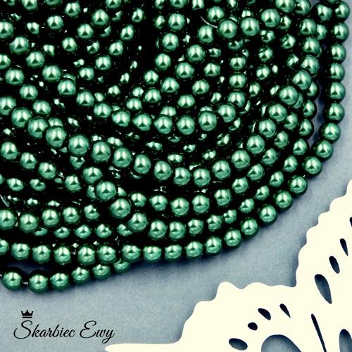 perły szklane 6 mm perełki do biżuterii CIEMNOZIELONE