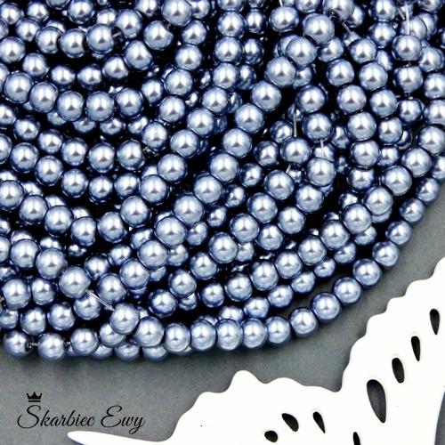 perły szklane 6 mm perełki do biżuterii JASNOSZARE