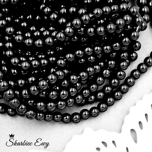 koraliki szklane 6 mm perełki do biżuterii CZARNE