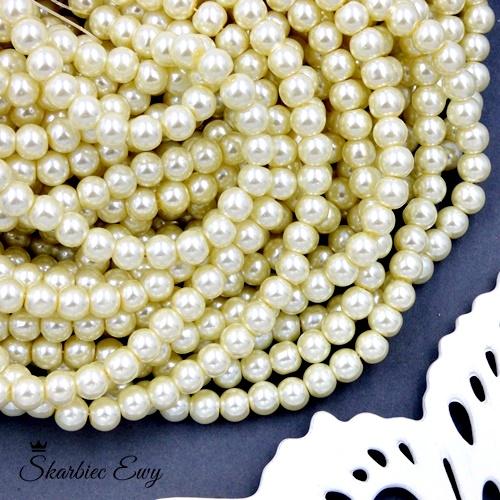 perły szklane 6 mm perełki do biżuterii kremowe
