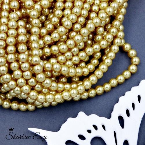 perły szklane 6 mm perełki do biżuterii BEŻOWE