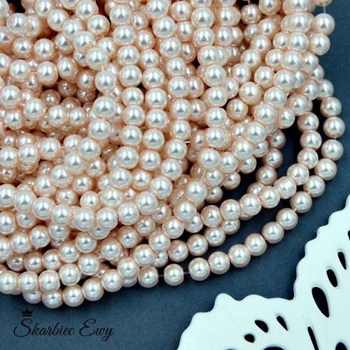 perły szklane 6 mm perełki do biżuterii JASNO RÓŻOWE