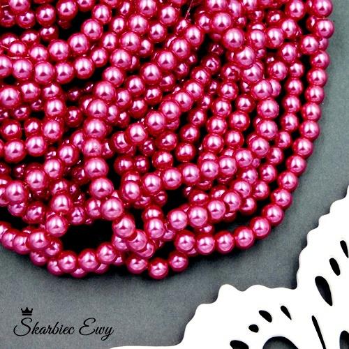 perły szklane 6 mm perełki do biżuterii RÓŻOWE