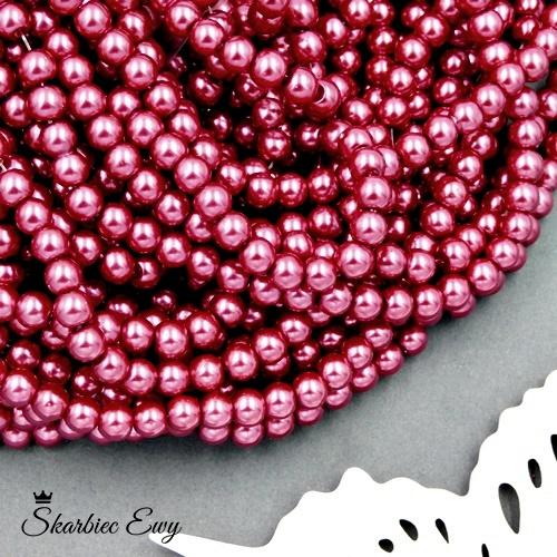 perły szklane 6 mm perełki do biżuterii CIEMNORÓŻOWE