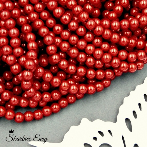 perły szklane 6 mm perełki do biżuterii CZERWONE
