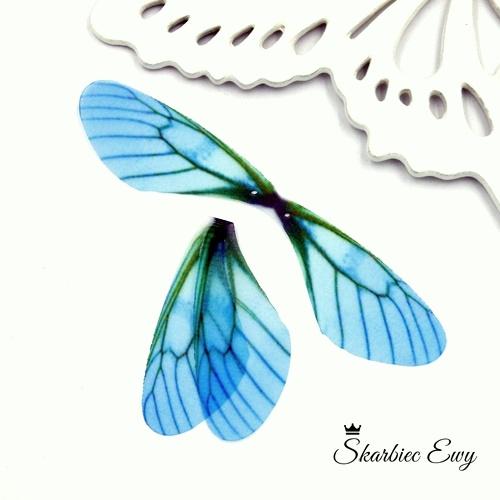 skrzydła ważki z organzy do biżuterii NIEBIESKIE
