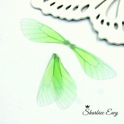 skrzydła ważki z organzy do biżuterii ZIELONE