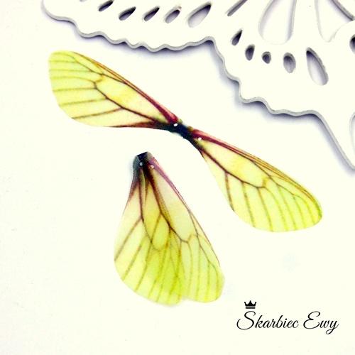 skrzydła ważki z organzy do biżuterii ŻÓŁTE