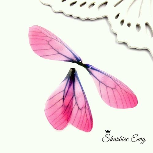skrzydła ważki z organzy do biżuterii RÓŻOWE