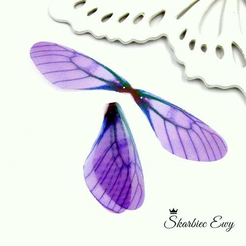 skrzydła ważki z organzy do biżuterii FIOLETOWE