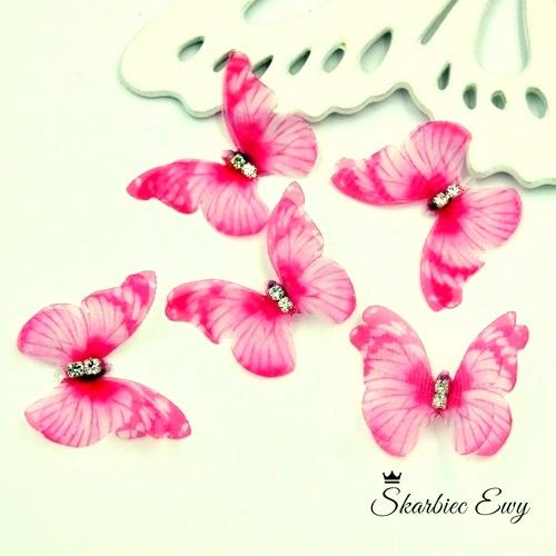 motyl z organzy z cyrkoniami do biżuterii dodatek różowy