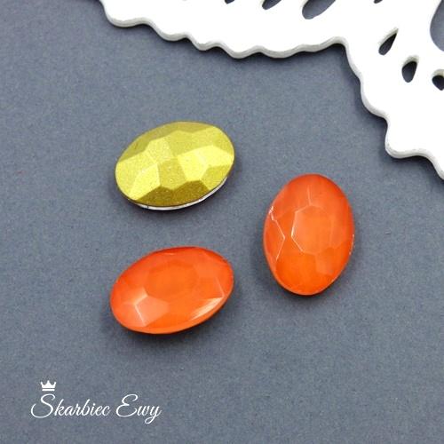 kryształek kaboszon szklany fasetowany mleczny pomarańcz