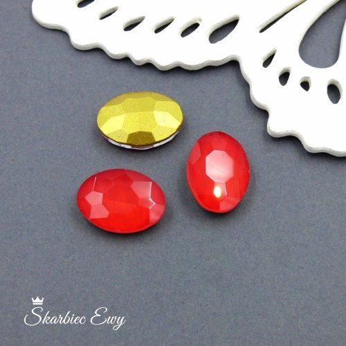 czerwony kryształek kaboszon szklany fasetowany mleczny