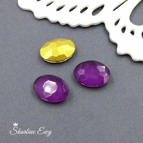 fioletowy kryształek kaboszon szklany fasetowany mleczny owal