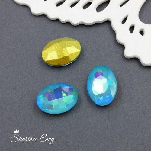kryształek kaboszon szklany fasetowany mleczny owal błękitny