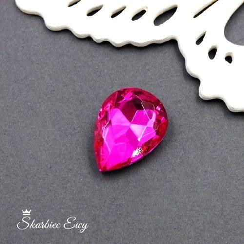kaboszony szklany fasetowany kryształek łezka 25x18 pink
