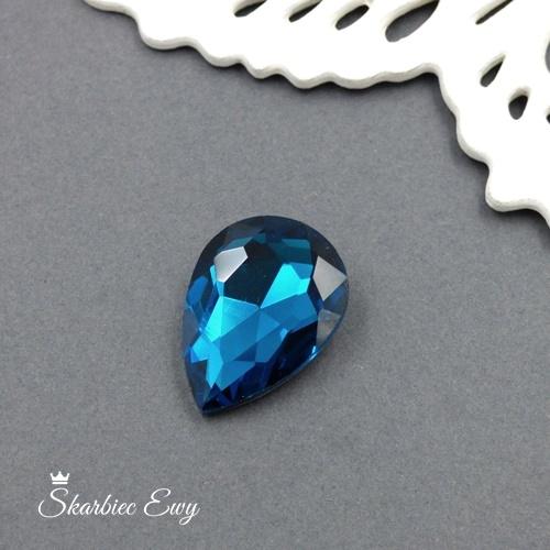 kaboszony szklany fasetowany kryształek łezka 25x18 teal