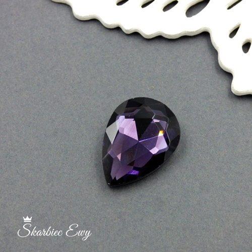 kaboszony szklany fasetowany kryształek łezka 25x18 amethyst