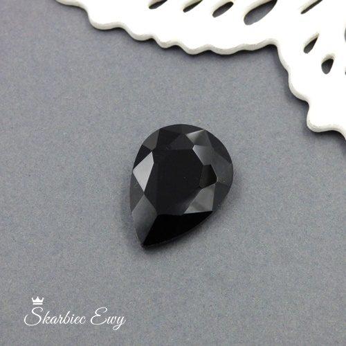 kaboszony szklany fasetowany kryształek łezka 25x18 black