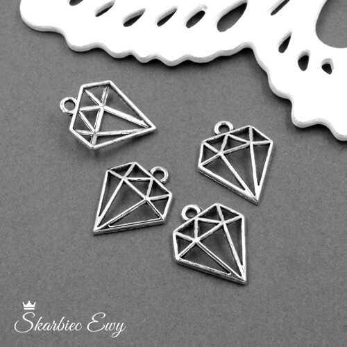 zawieszka metalowa ozdobna diament
