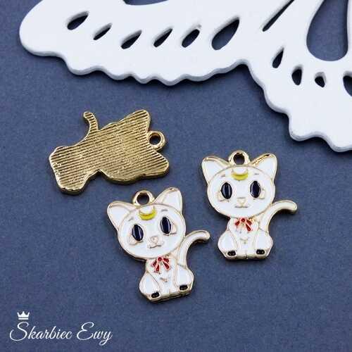zawieszka emaliowana kot biały