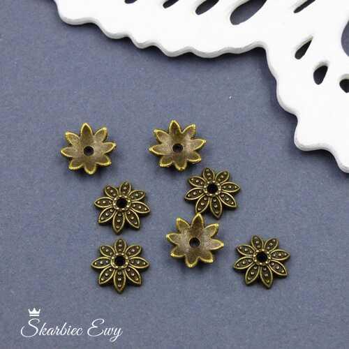 czapeczka metalowa ażurowa kwiatek 10 mm