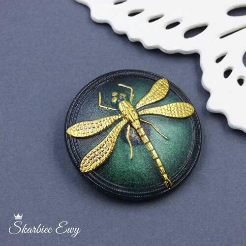 guzik szklany czeski ważka emerald